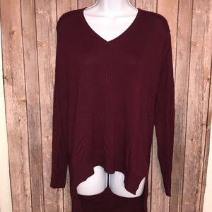 Burgundy V Neck Sweater